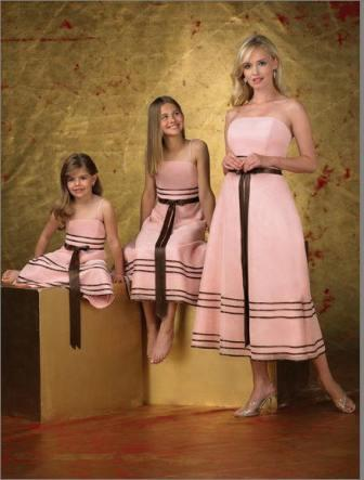 pink and brown bridal party dresses