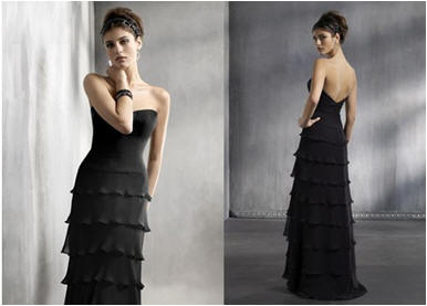 black ruffle bridesmaid dress