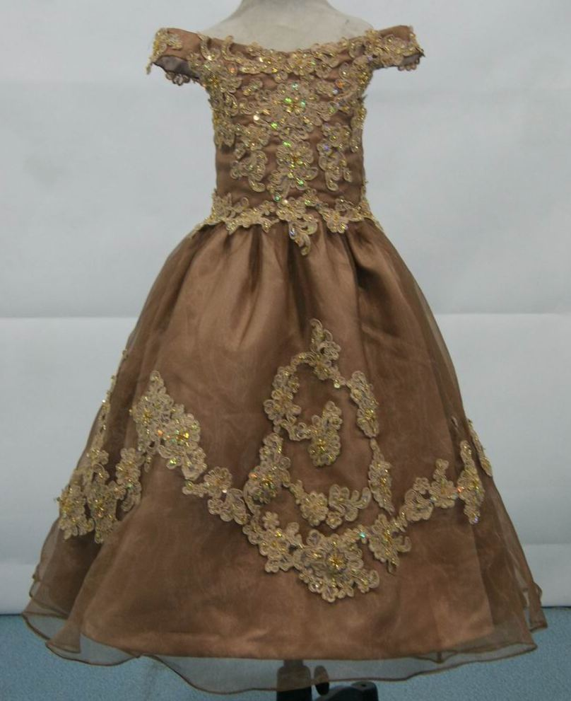 mocha and gold pageant dress