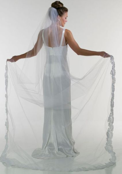 Floor Length Veil, 1 Tier with Lace applique Edge