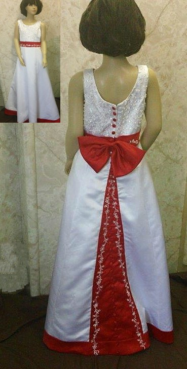 white and red flower girl dresses