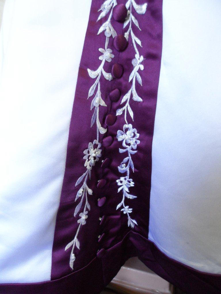 Grape and white embroidered trim