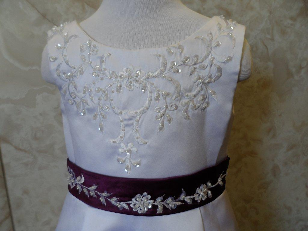 White  embroidered flower girl dress with grape waist band