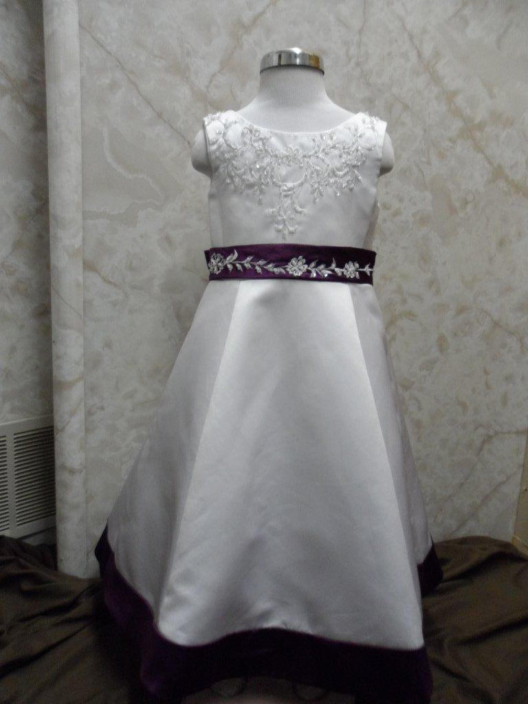 White Flower Girl Dress with grape empire waist band