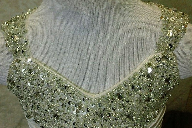 crystal encrusted bodice and straps