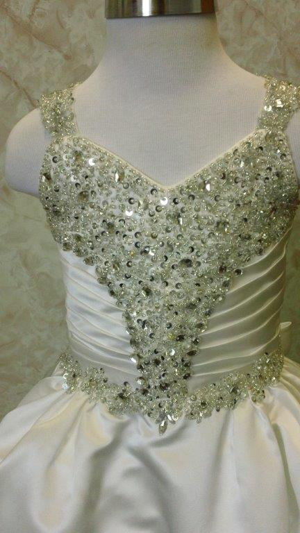 ruched crystal encrusted bodice