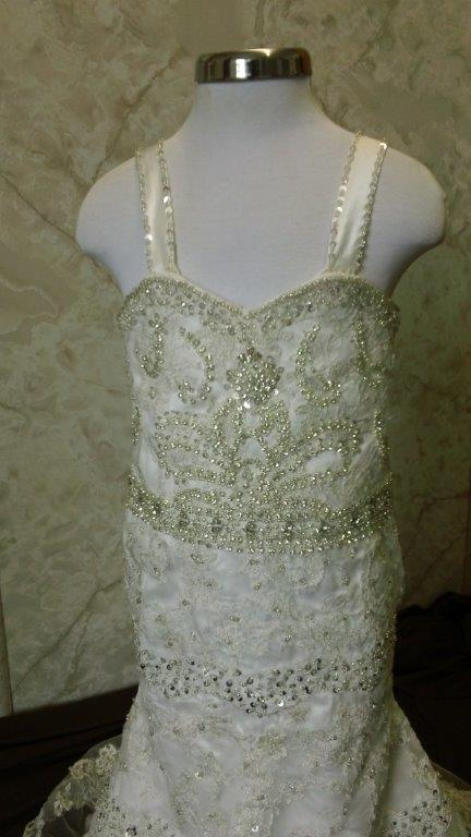 flower girl dress with pearl beading