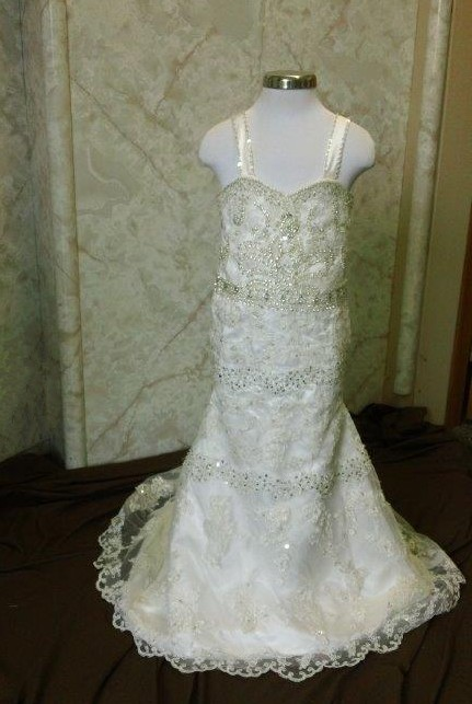 flower girl dress with rows of beading