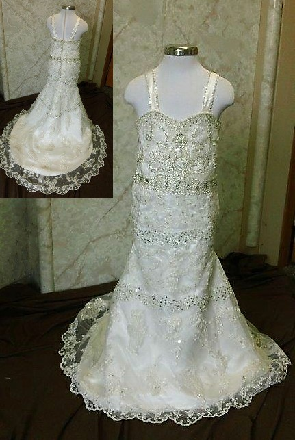 mermaid flower girl wedding gown with rows of pearl and crystal embellishments