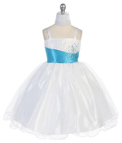 white and turquoise childresn dress