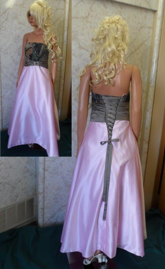 Prom camo dress with pink skirt