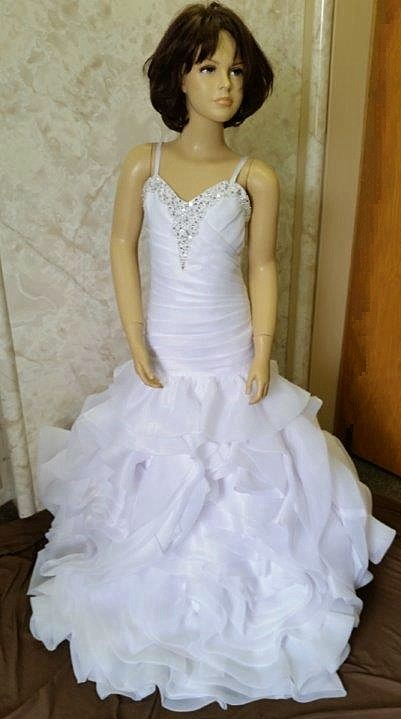 white organza ruffled flower girl dress