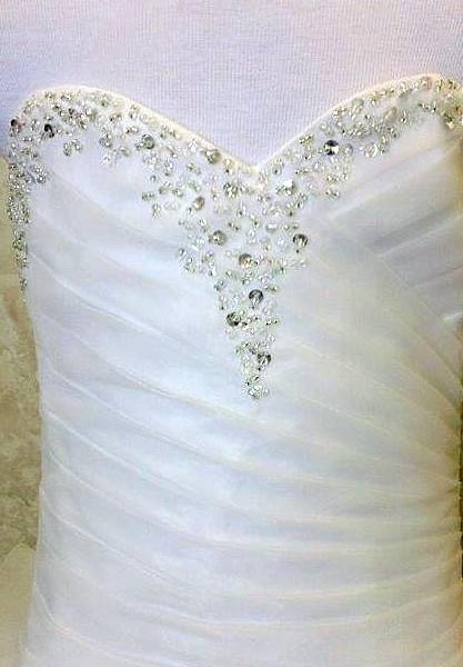ruched beaded bodice
