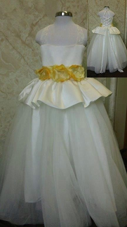 Flower girl dress with open lace crisscross back