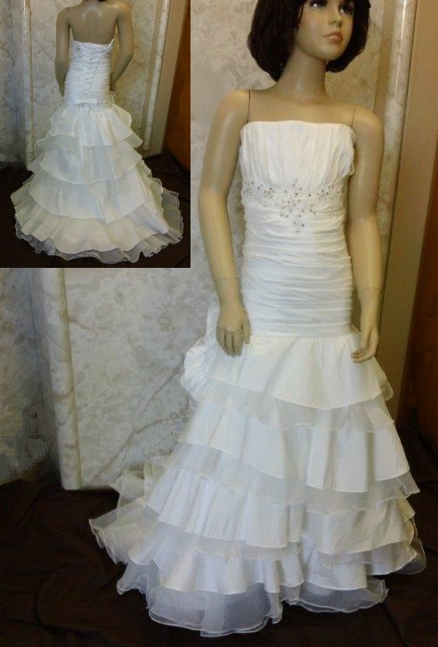 Flower girl dress with organza ruffle layered train