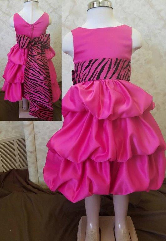 fuschia dress with zebra sash