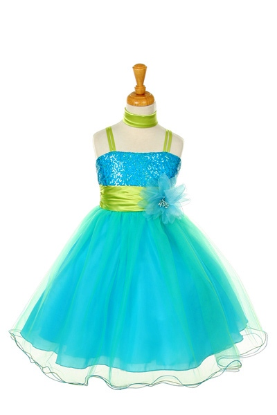 turquoise/lime kids dress