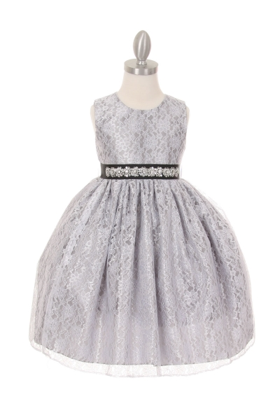 girls silver lace dress