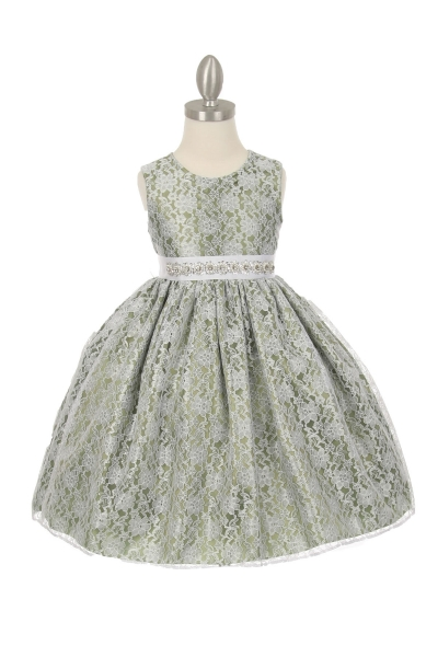 infant and girls sage green lace dress