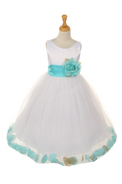 white baby flower girl dress with aqua petals and sash