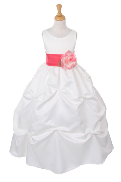 cheap white flower girl dresses with coral sash