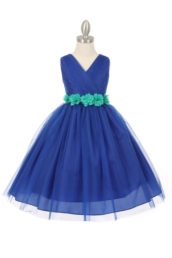 girls navy dress with jade sash