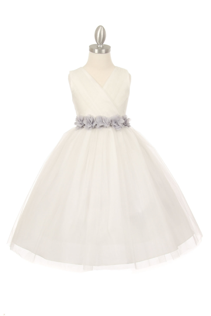 white dress with silver sash