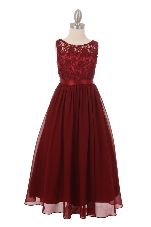 girls burgundy maxi flower girl dress