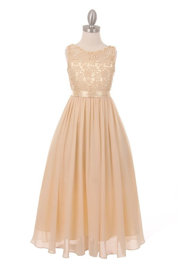 girls champagne maxi flower girl dress