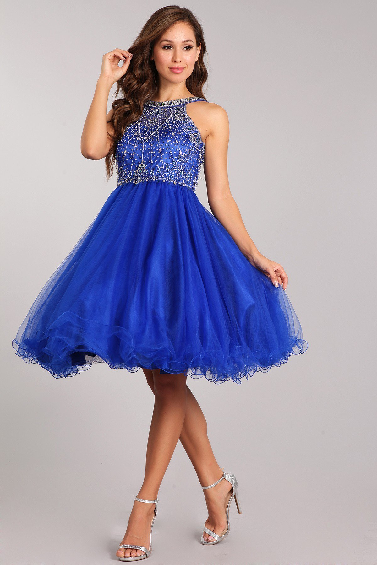 blue quinceanera court dresses