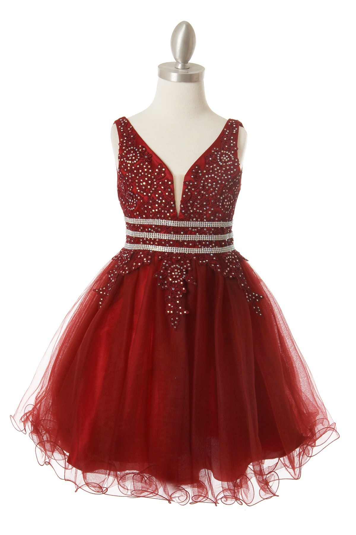 Girls short tulle burgundy dress.  Lace covered bodice trimmed with ab stones.  Completed with low cut back, size 2-16