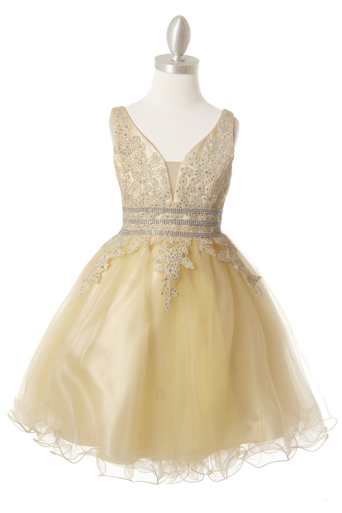 Girls short tulle champagne dress