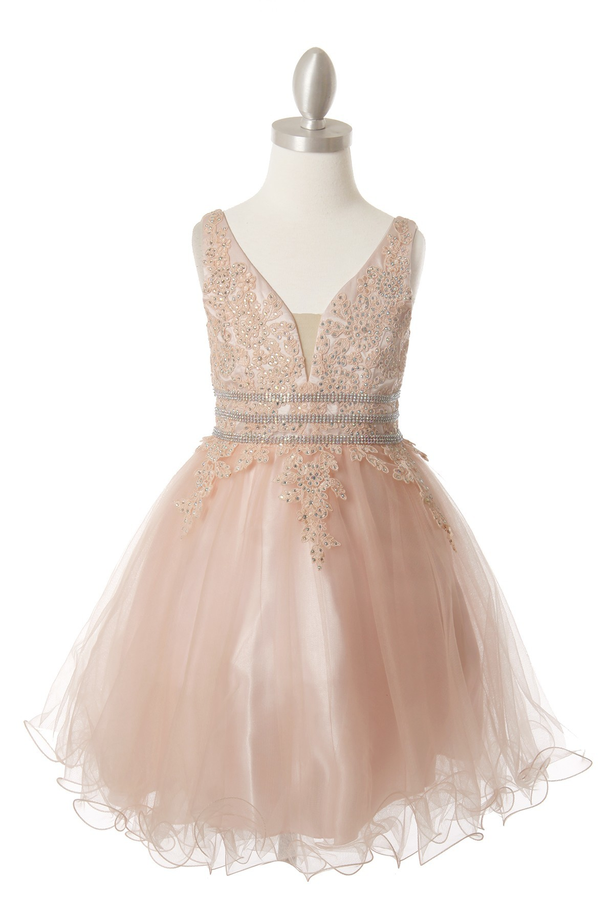 Girls short tulle dusty rose dress