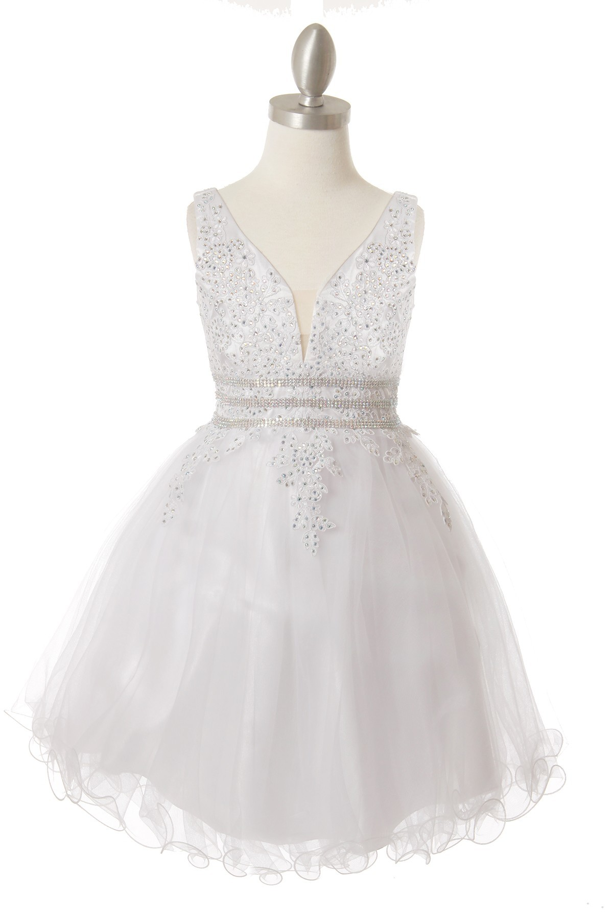 Girls short tulle white dress