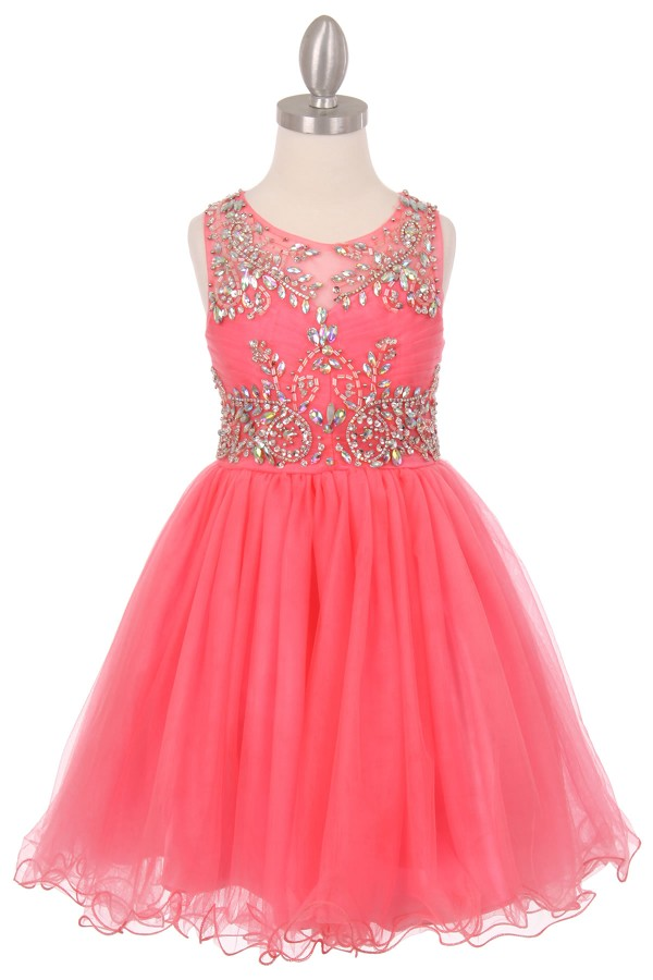 coral little girls party dresses