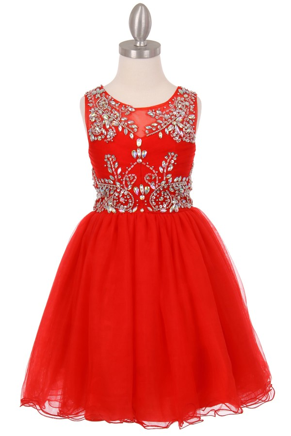 red little girls party dresses