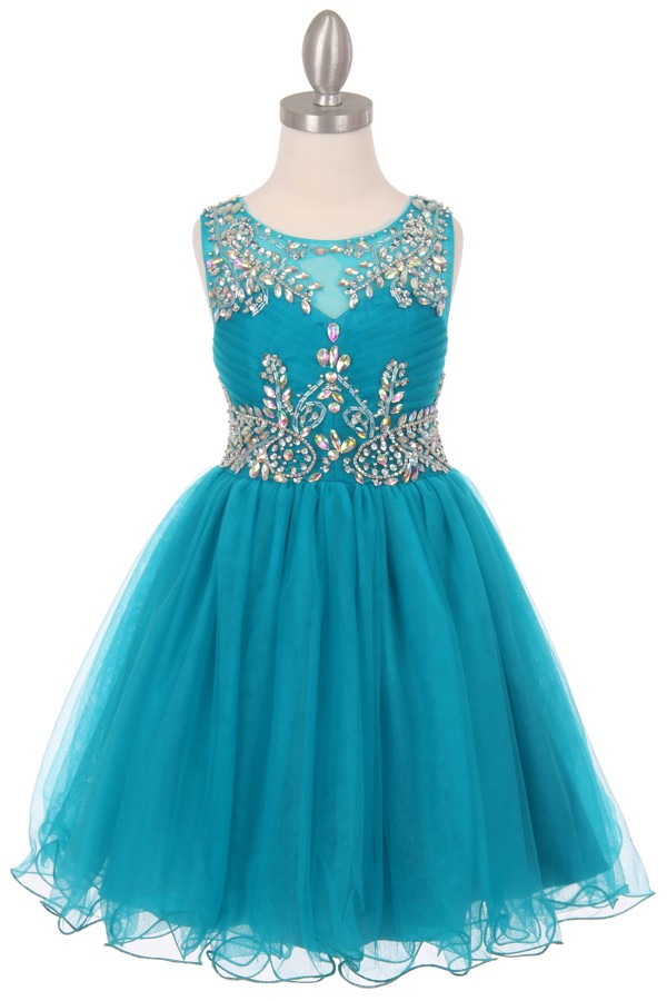 teal little girls party dresses