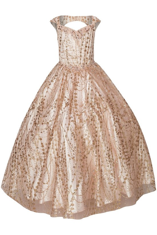Girls long blush metallic glitter pageant dress