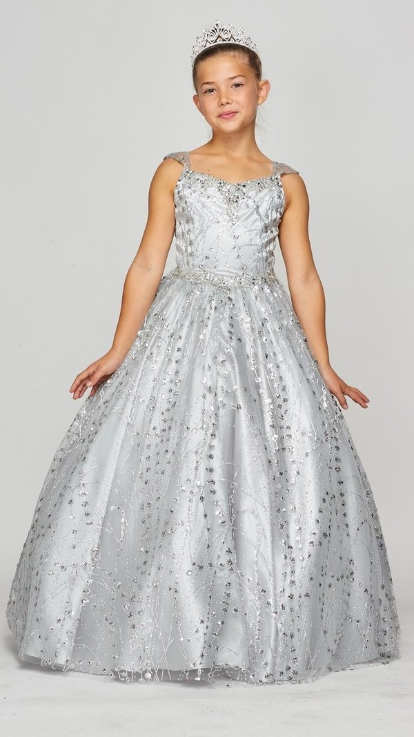 Girls long metallic glitter pageant dress dresses for wedding