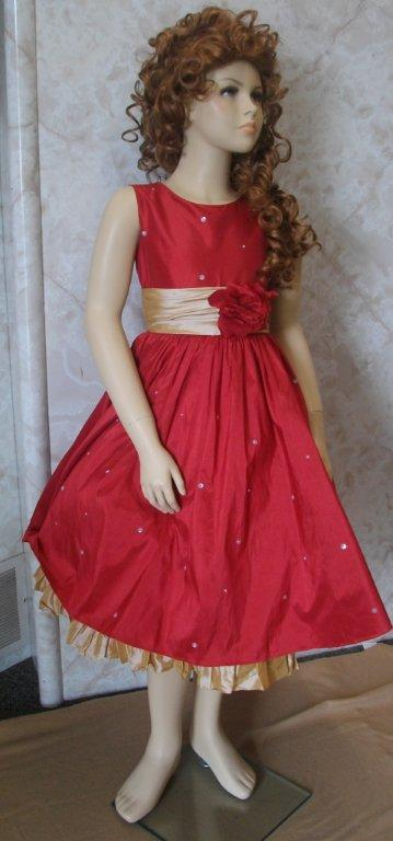 Sleeveless red and gold girls party dress.