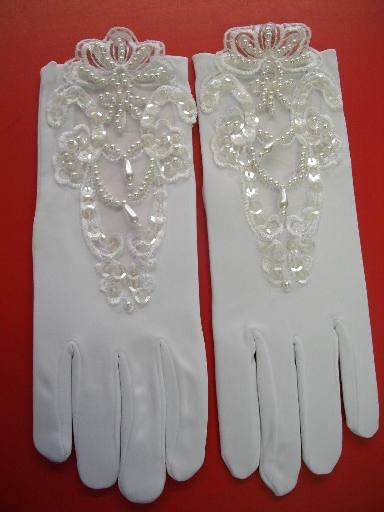 Girls Pearl lace gloves