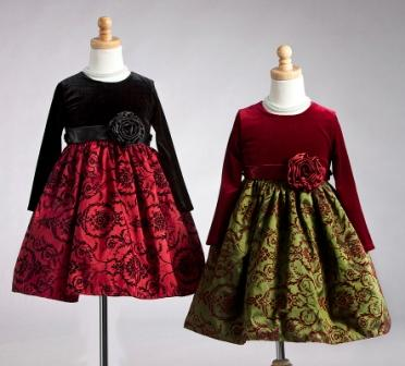 Long sleeve vintage floral girls christmas dresses