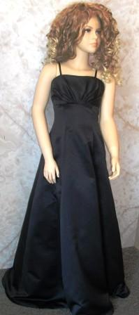 Floor length, black A line flower girl dress