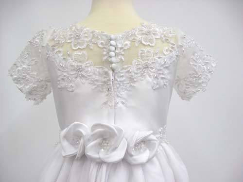 girl communion dresses with 3 roses on the back