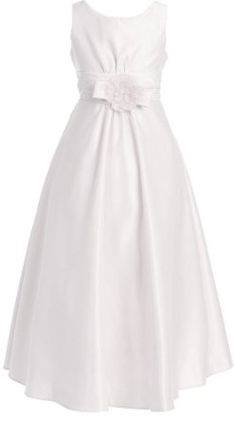 White dress with bow on empire waistline