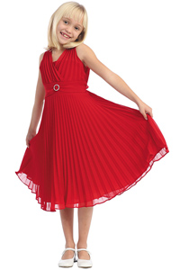 Red Pleated Holiday & Christmas dress