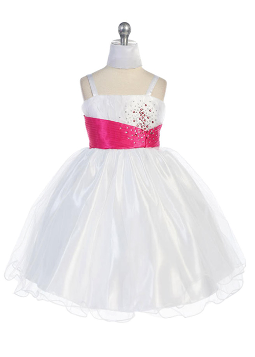 pink and white pageant dress