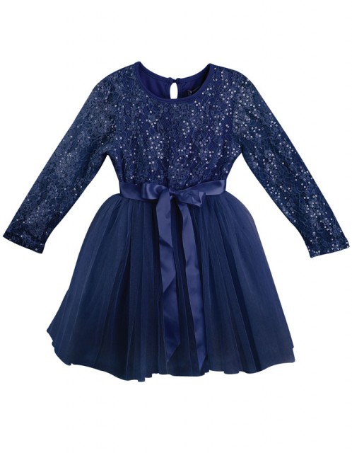 long sleeve navy lace christmas dress
