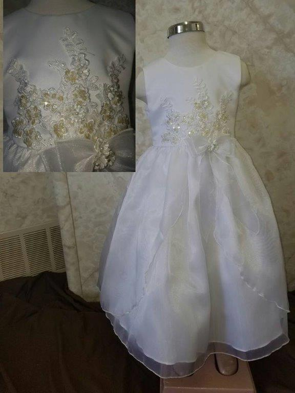 white with clear sequins dress