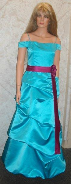 Pool blue dress with Fushia sash